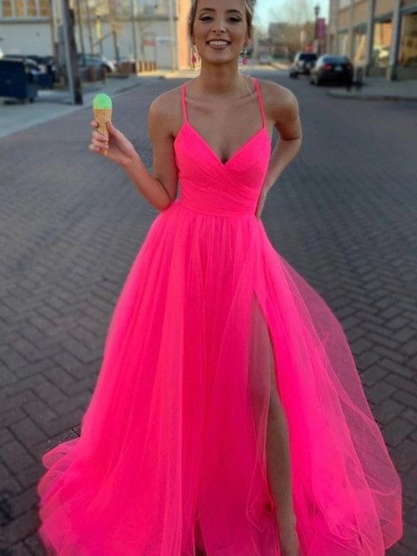 A-Line Sleeveless V-neck Sweep/Brush Train Tulle Ruched Dresses