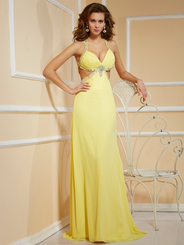 Sheath/Column Spaghetti Straps Sleeveless Beading Long Chiffon Dresses