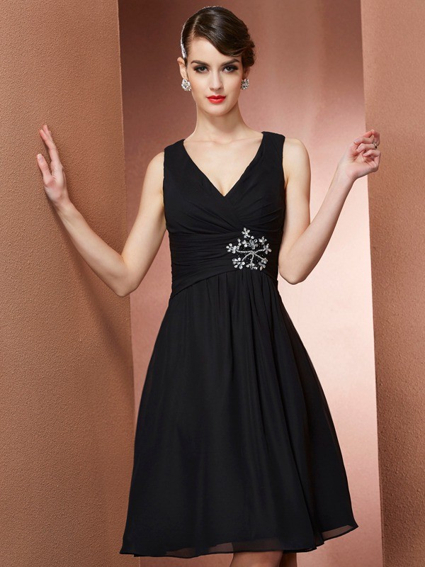 A-Line/Princess Straps Sleeveless Short Chiffon Bridesmaid Dresses
