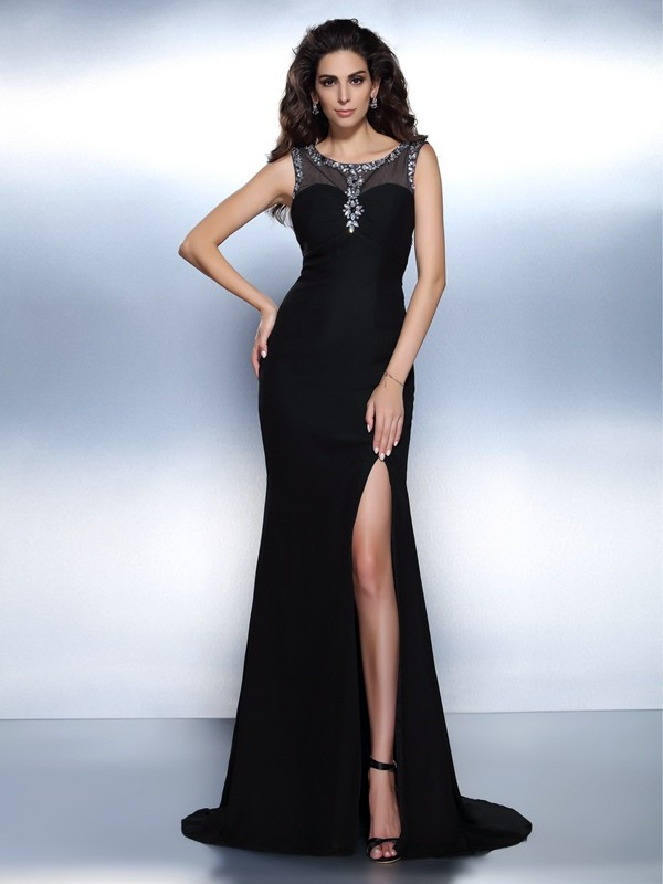 Trumpet/Mermaid Bateau Beading Sleeveless Long Chiffon Dresses