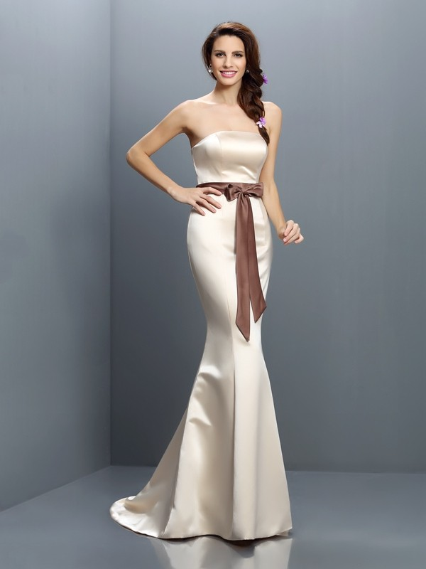 Trumpet/Mermaid Strapless Sash/Ribbon/Belt Sleeveless Long Satin Bridesmaid Dresses