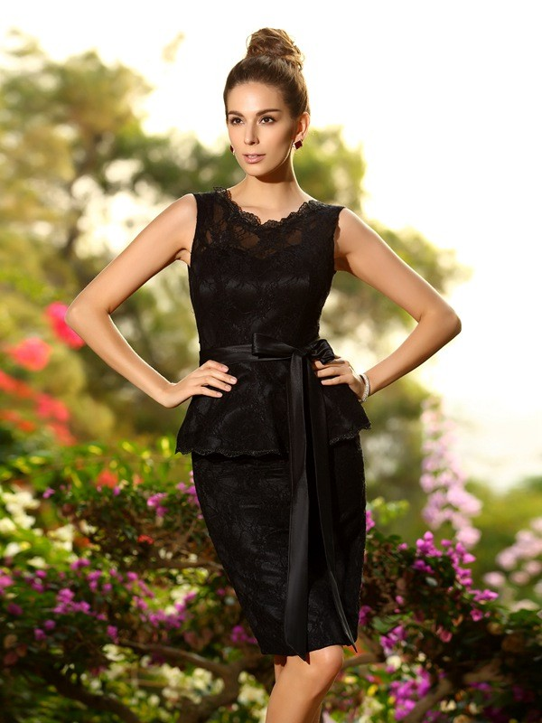 Sheath/Column Scoop Lace Sleeveless Short Satin Bridesmaid Dresses