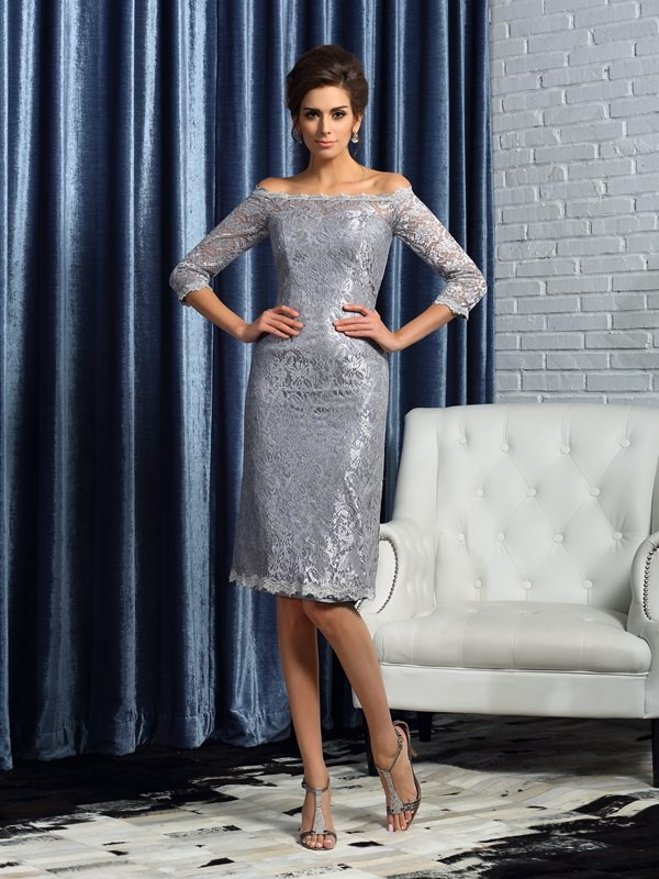 Sheath/Column Off-the-Shoulder Lace 1/2 Sleeves Short Satin Mother of the Bride Dresses