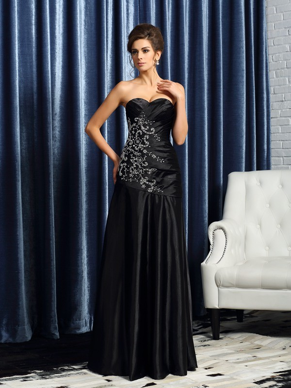 A-Line/Princess Sweetheart Beading Sleeveless Long Satin Mother of the Bride Dresses