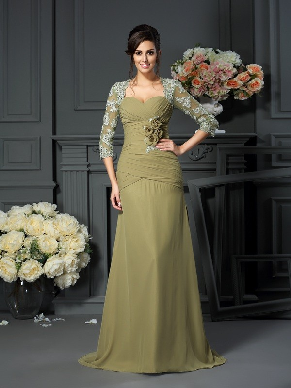 A-Line/Princess Sweetheart Hand-Made Flower 1/2 Sleeves Long Chiffon Mother of the Bride Dresses