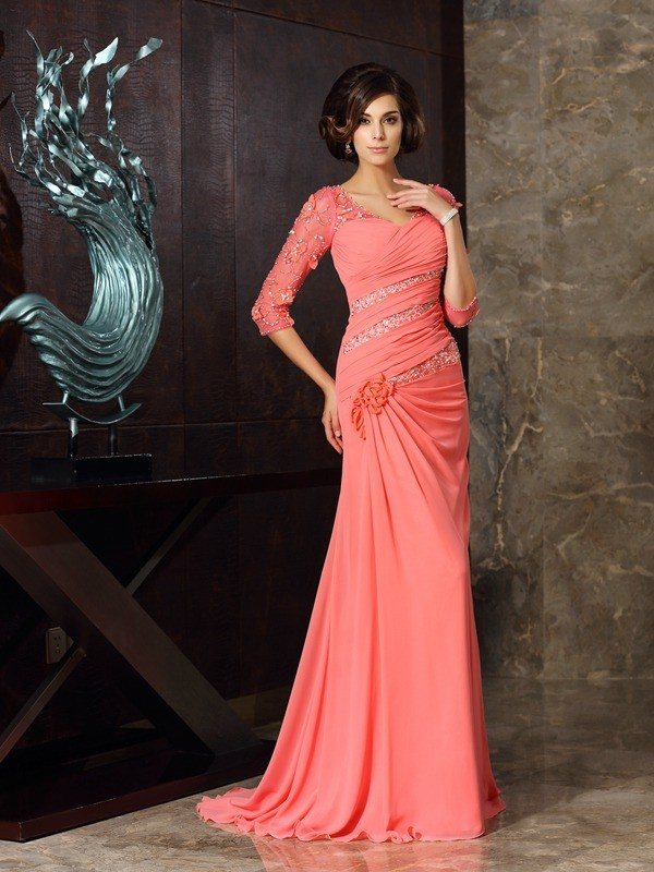 Trumpet/Mermaid Sweetheart 1/2 Sleeves Long Chiffon Mother of the Bride Dresses