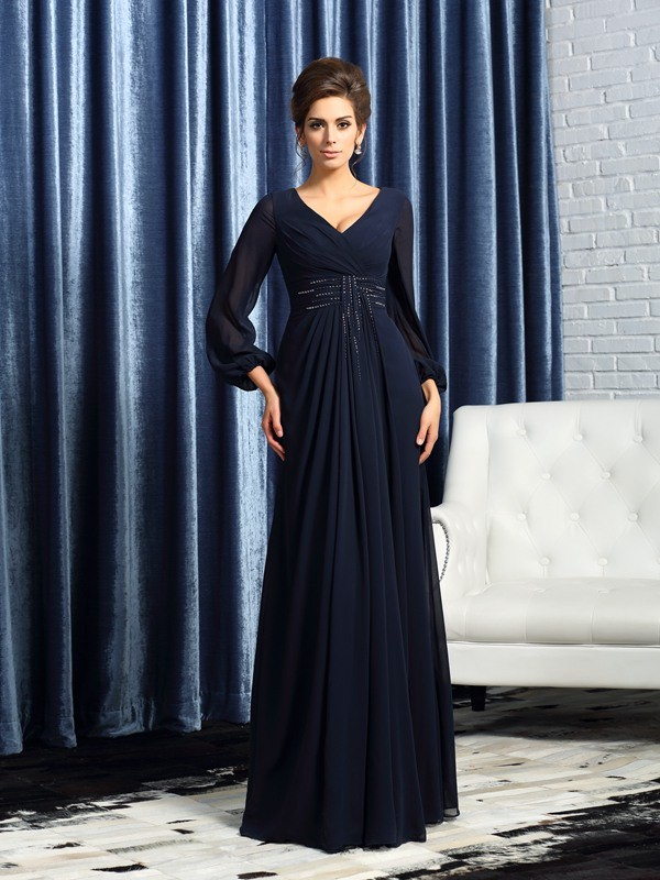 A-Line/Princess V-neck Beading Long Sleeves Long Chiffon Mother of the Bride Dresses