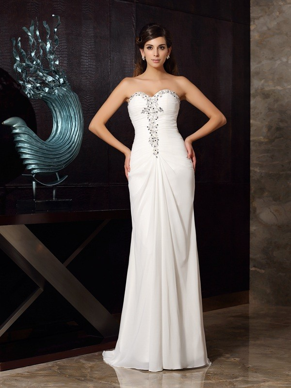 Trumpet/Mermaid Sweetheart Beading Sleeveless Long Chiffon Dresses