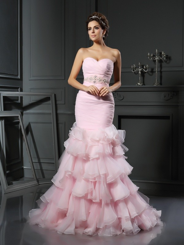 Trumpet/Mermaid Sweetheart Beading Sleeveless Long Organza Wedding Dresses