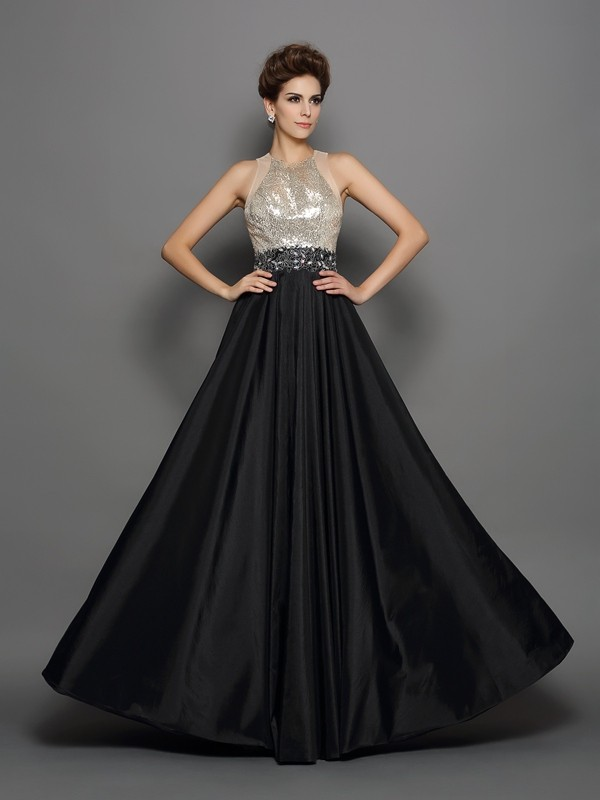 A-Line/Princess High Neck Sequin Sleeveless Long Taffeta Dresses