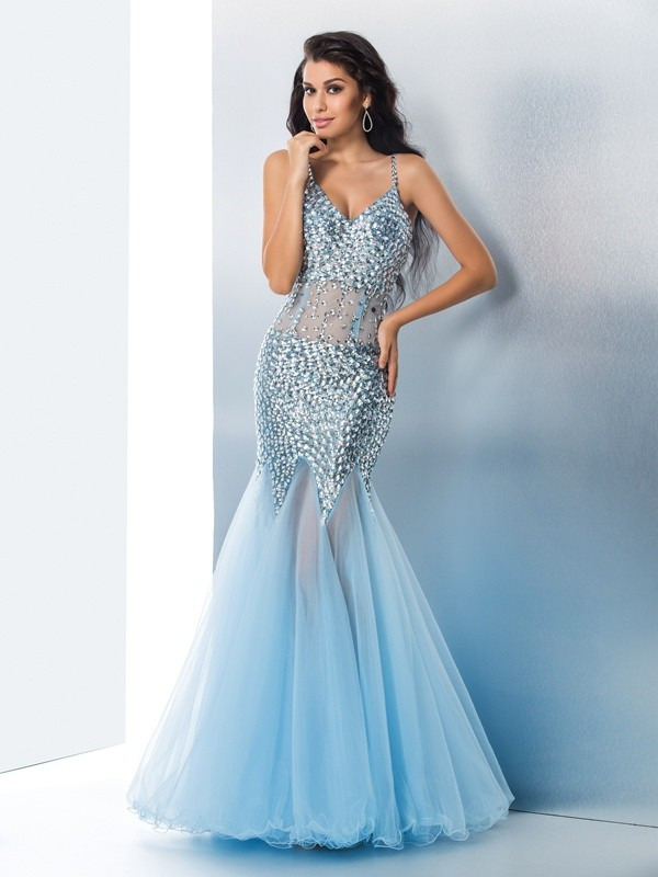Trumpet/Mermaid Spaghetti Straps Sequin Sleeveless Long Organza Dresses