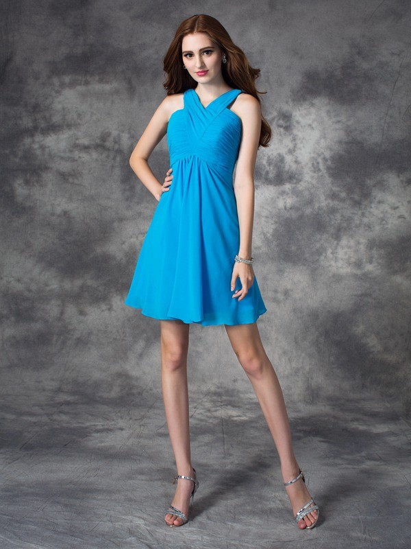A-line/Princess V-neck Ruffles Sleeveless Short Silk like Satin Dresses