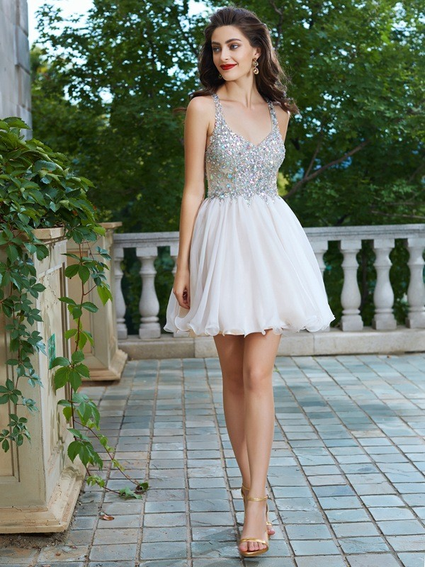 A-Line/Princess Straps Sleeveless Rhinestone Short/Mini Chiffon Dresses