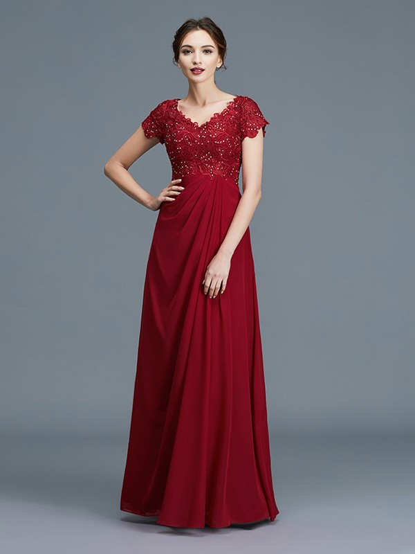 A-Line/Princess V-neck Short Sleeves Ruffles Chiffon Floor-Length Mother of the Bride Dresses