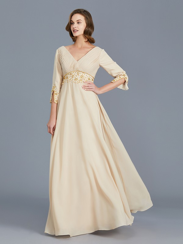 A-Line V-neck Chiffon Sleeveless Floor-Length Mother of the Bride Dress