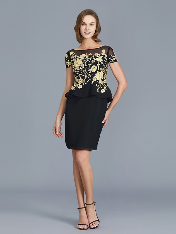 Sheath Scoop Short Sleeves Knee-Length Chiffon Mother of the Bride Dress