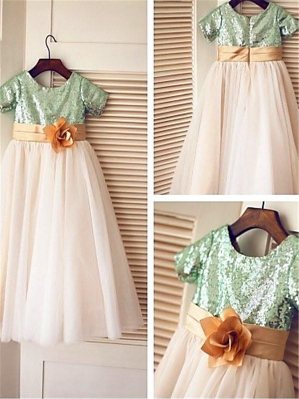 A-line Short Sleeves Scoop Tea-Length Tulle Flower Girl Dress