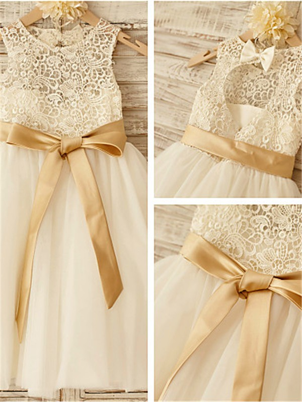 A-line Scoop Sleeveless Knee-Length Tulle Flower Girl Dress
