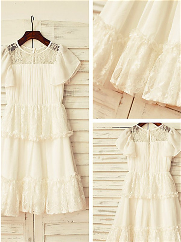 A-line Scoop Short Sleeves Lace Tea-length Chiffon Flower Girl Dress