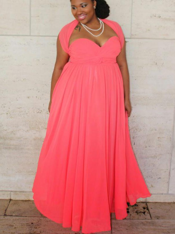 A-Line Sweetheart Sleeveless Ruched Floor-Length Chiffon Plus Size Dresses