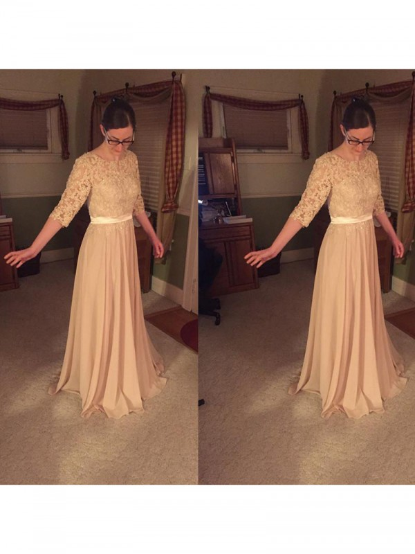 A-Line Sheer Neck 1/2 Sleeves Lace Floor-Length Chiffon Mother Of The Bride Dresses