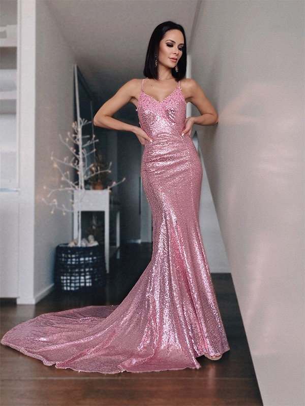 Mermaid Sequins V-neck Sleeveless Sweep/Brush Train Ruffles Dresses