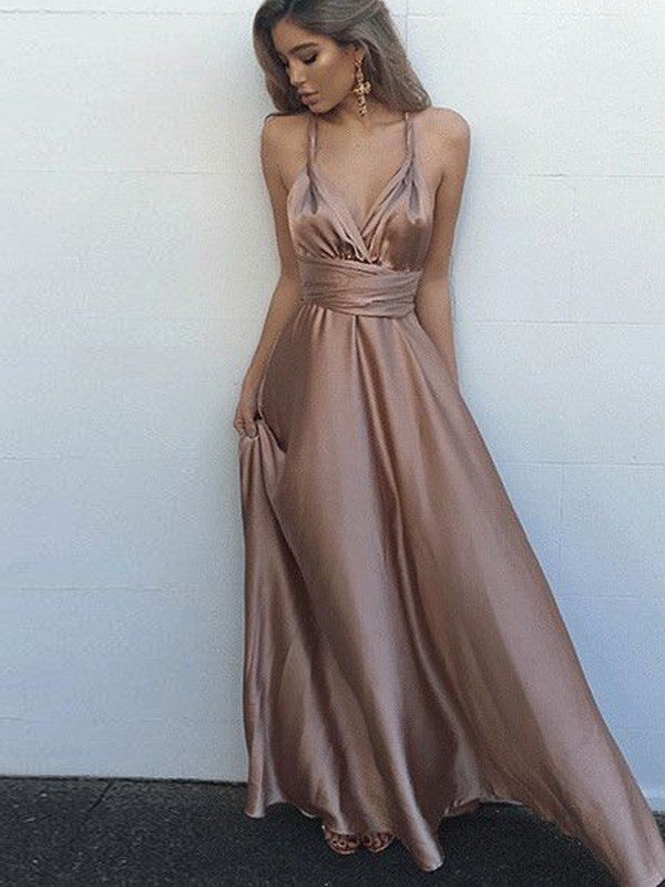 A-Line/Princess Sleeveless Spaghetti Straps Silk like Satin Floor-Length Sash/Ribbon/Belt Dresses