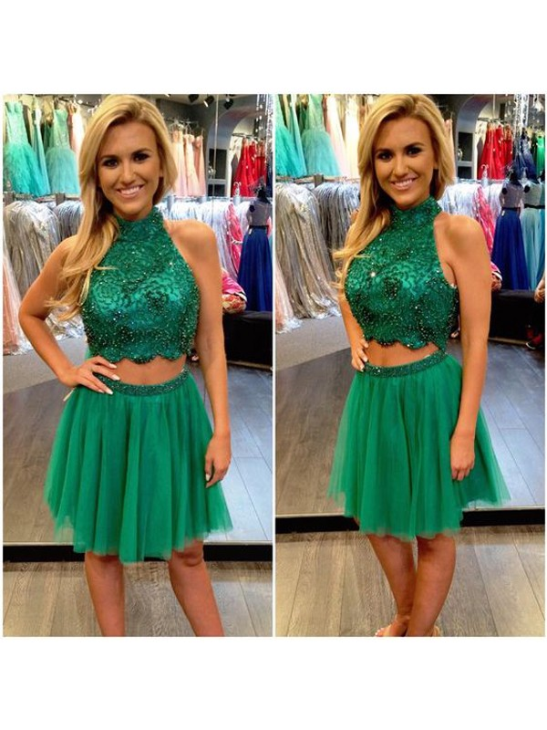 A-Line/Princess Sleeveless High Neck Beading Tulle Short/Mini Two Piece Dresses