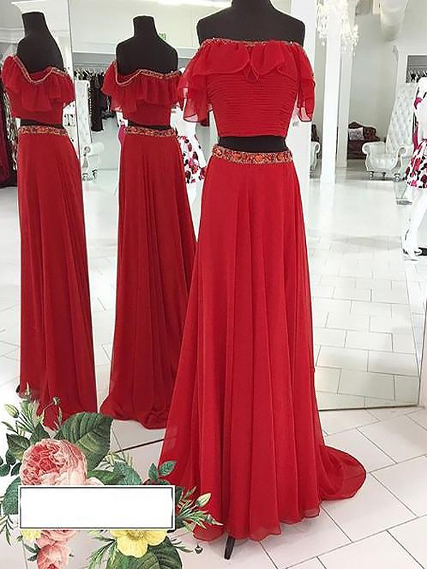 A-Line Sleeveless Off-the-Shoulder Chiffon Beading Floor-Length Two Piece Dresses