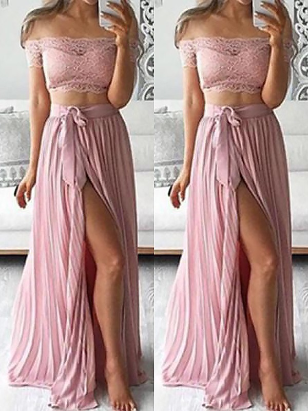 A-Line Off-the-Shoulder Sleeveless Chiffon Floor-Length Lace Two Piece Dresses