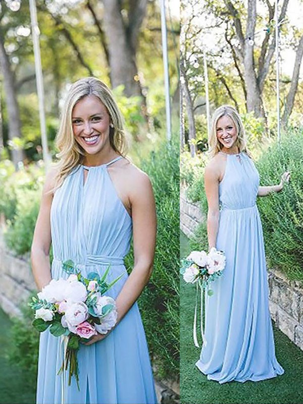 A-Line Sleeveless Halter Chiffon Floor-Length Bridesmaid Dresses