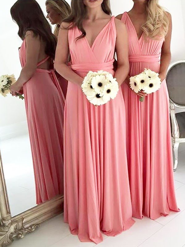 A-Line V-neck Floor-Length Spandex Sleeveless Bridesmaid Dresses