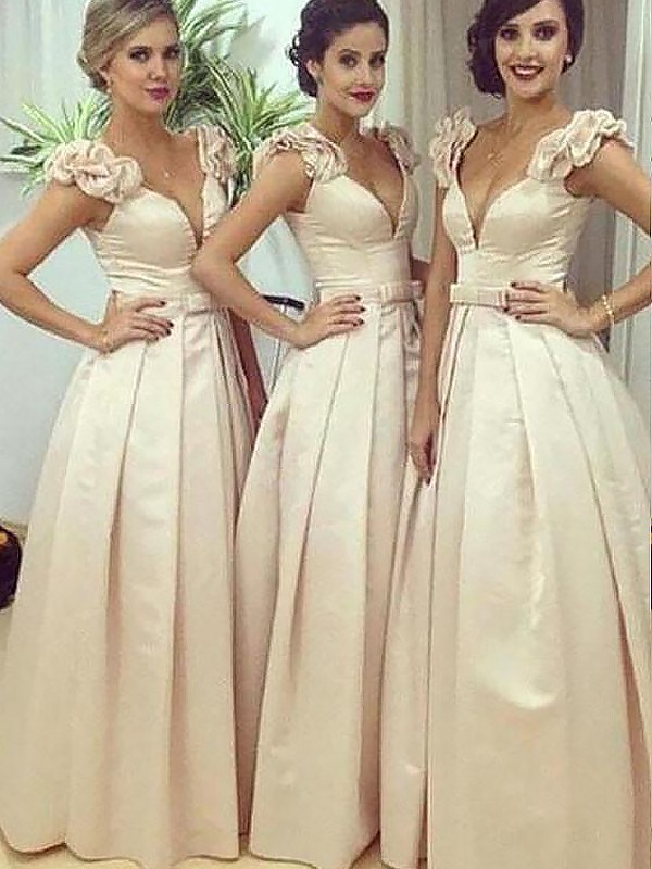 A-Line Floor-Length Satin Sleeveless Straps Bridesmaid Dresses
