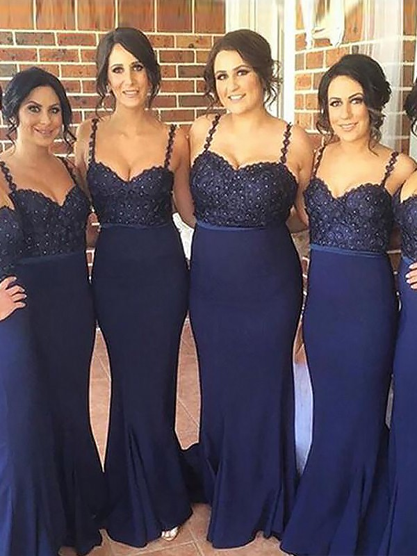 Mermaid Spaghetti Straps Sleeveless Sweep/Brush Train Satin Bridesmaid Dresses