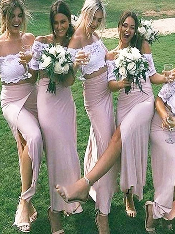 Sheath Jersey Off-the-Shoulder Floor-Length Short Sleeves Bridesmaid Dresses