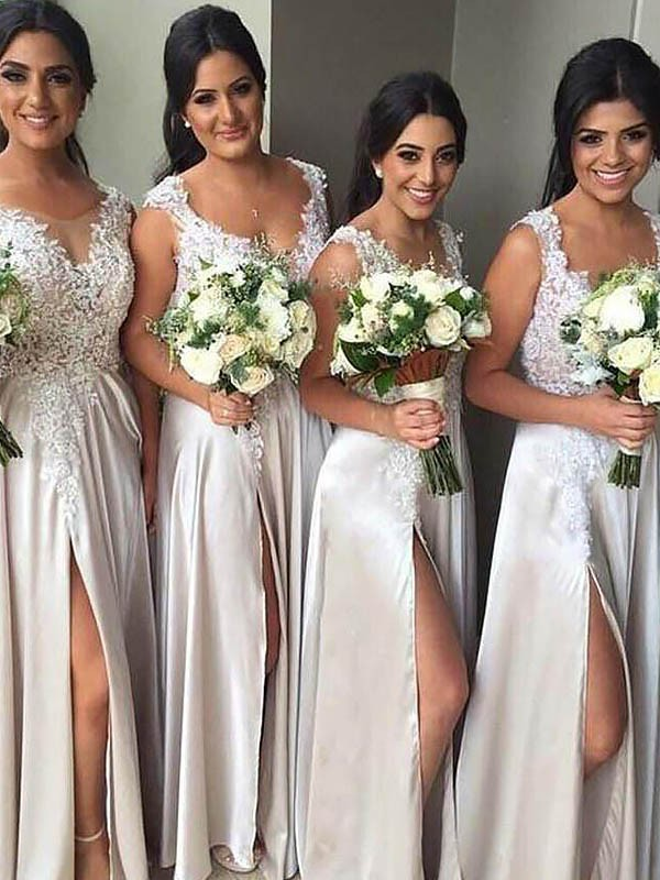 Sheath V-neck Silk like Satin Sleeveless Floor-Length Bridesmaid Dresses