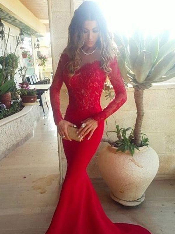 Trumpet/Mermaid Off-the-Shoulder Long Sleeves Lace Sweep/Brush Train Satin Dresses