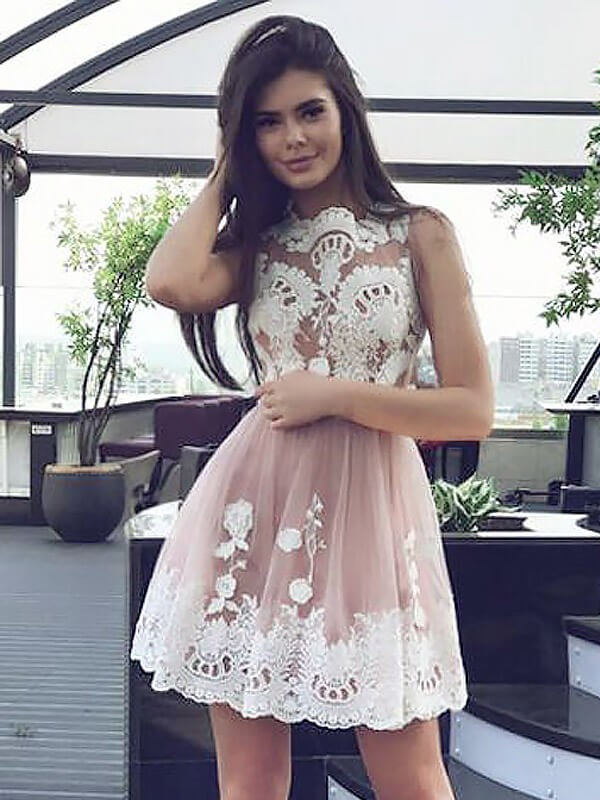 A-Line/Princess Scoop Sleeveless Lace Short/Mini Chiffon Dresses