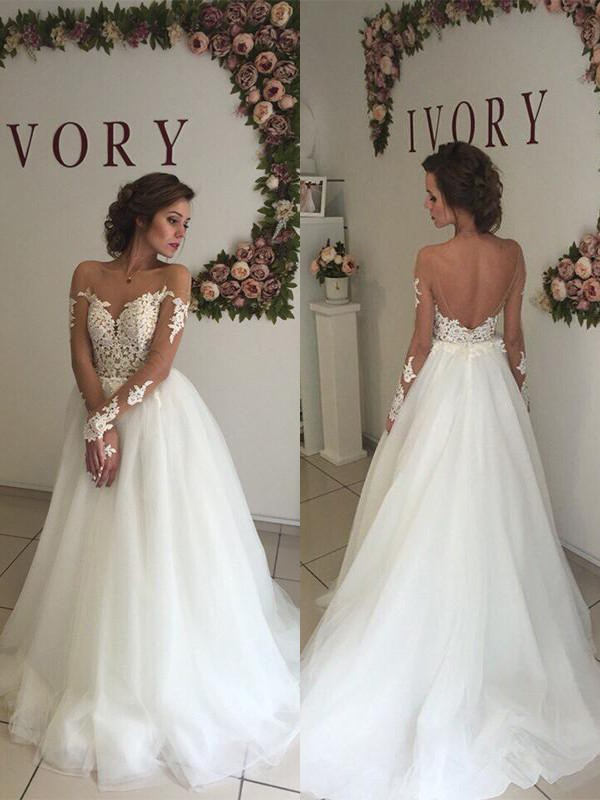 A-Line Tulle Off-the-Shoulder Sweep/Brush Train Long Sleeves Wedding Dresses