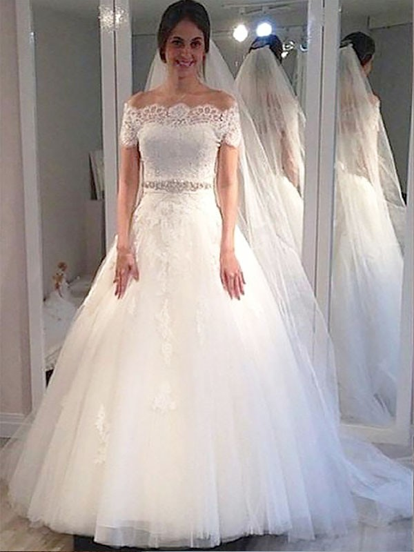 Ball Gown Off-the-Shoulder Short Sleeves Tulle Sweep/Brush Train Wedding Dresses