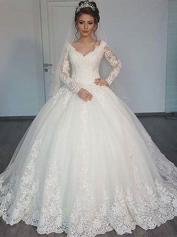 Ball Gown Long Sleeves Court Train V-neck Tulle Wedding Dresses