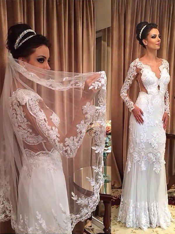 Sheath Tulle Long Sleeves V-neck Sweep/Brush Train Wedding Dresses