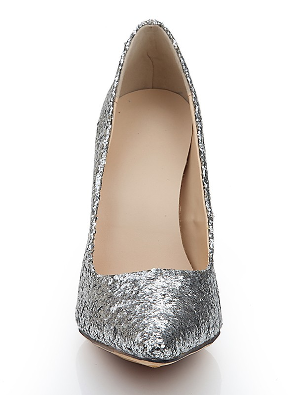 Women's Closed Toe Spool Heel Elastic Leather With Sequin Silver Wedding Shoes