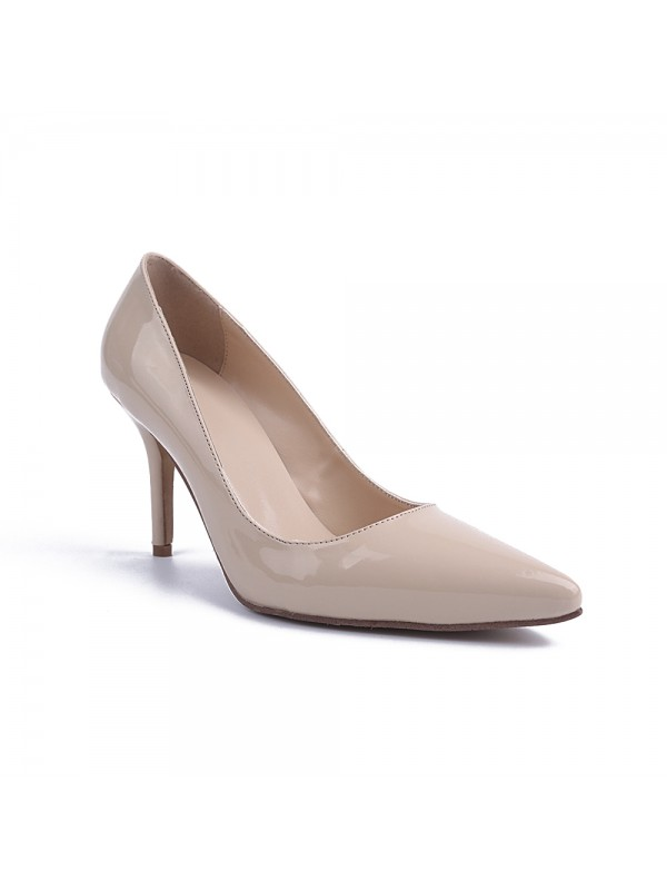Women's Patent Leather Closed Toe Cone Heel High Heels