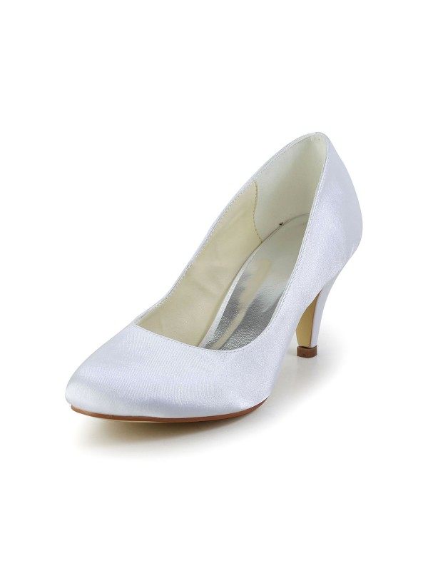 Women's Simples Satin Cone Heel Closed Toe White Wedding Shoes