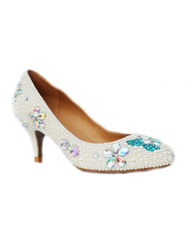 Women's Patent Leather Cone Heel Closed Toe With Pearl & Rhinestone High Heels