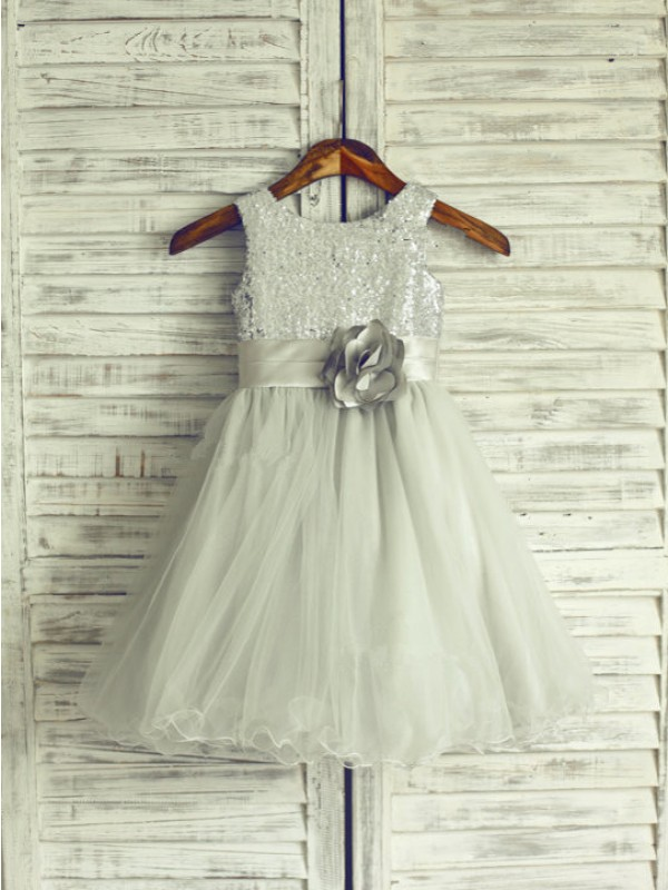 A-line Scoop Knee-Length Net Flower Girl Dress