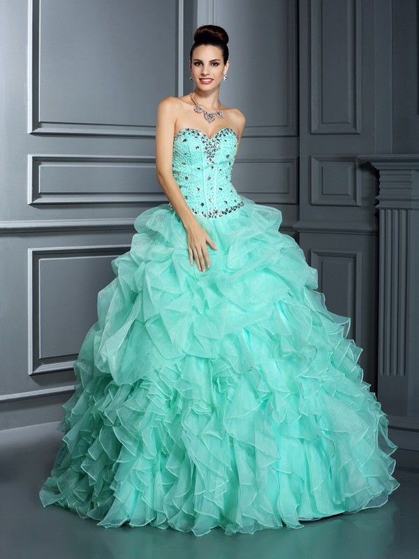 ec95563d1d4 Ball Gown Sweetheart Beading Sleeveless Long Organza Quinceanera Dresses