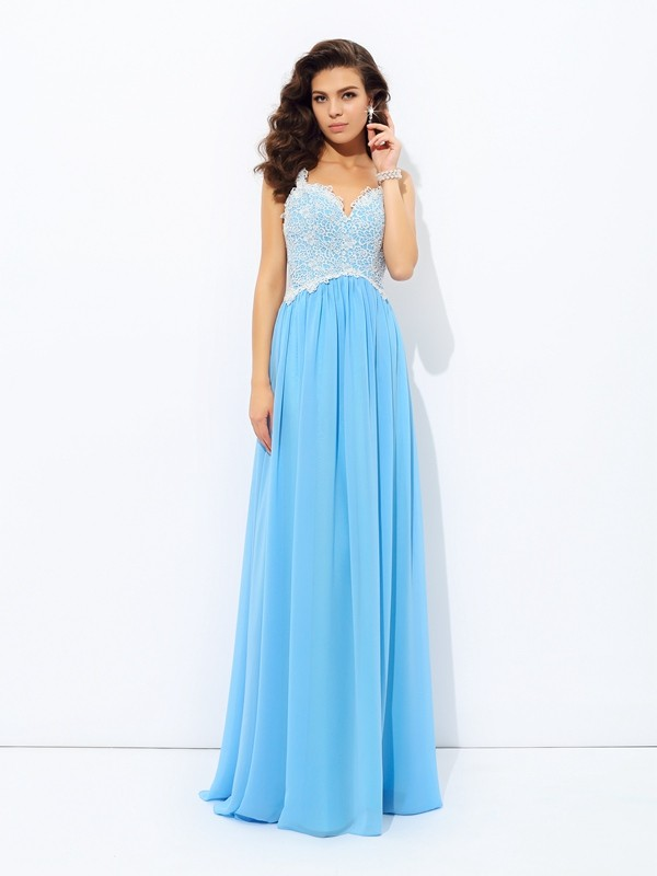 76a9a560c0f A-Line/Princess V-neck Lace Sleeveless Long Chiffon Dresses