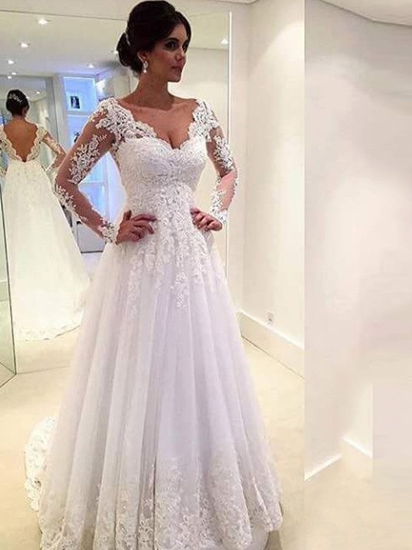 6679a68b20bc Ball Gown V-neck Long Sleeves Lace Sweep/Brush Train Tulle Wedding ...